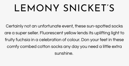 Lemony snickets socks