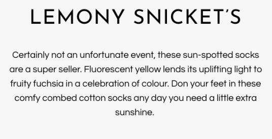 Lemony snickets socks